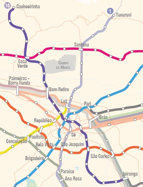 Fonte: Atualização da Rede Metropolitana de Alta e Média Capacidade de Transporte da RMSP – Secretaria de Transportes Metropolitanos