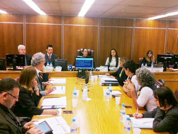 Audiência de conciliação entre metroviários e o Metrô no Tribunal Regional do Trabalho (TRT) (Foto: Roney Domingos/G1)