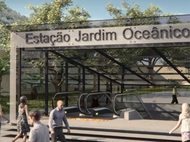 Maquete mostra como será entrada da estação Jardim Oceânico (Foto: Linha 4/Divulgação)