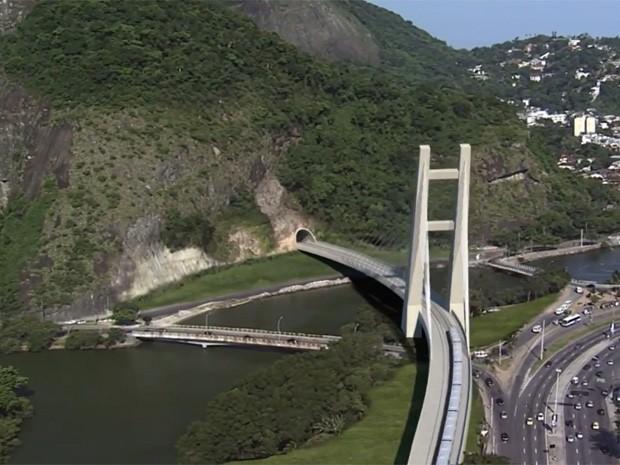 Ponte estaiada ficará na altura da Rua Érico Veríssimo (Foto: Linha 4/Divulgação)
