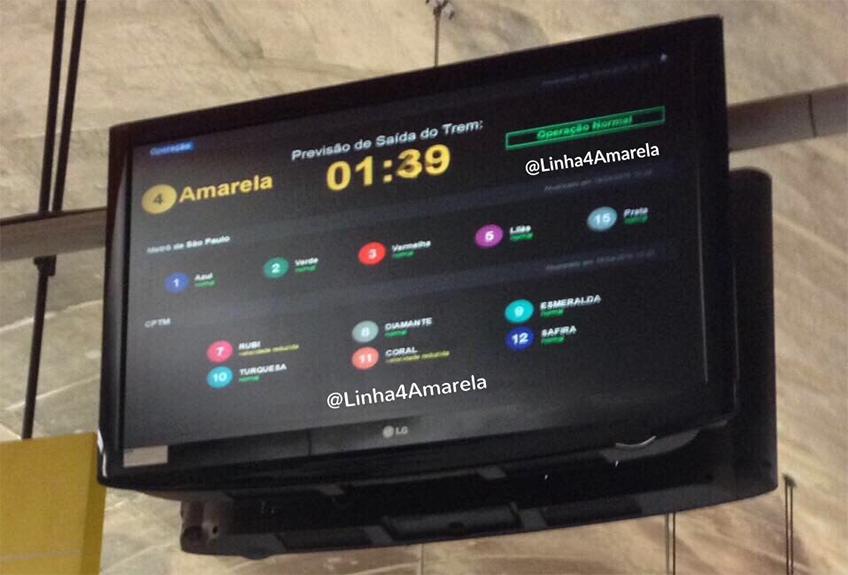 Monitor mostra intervalo de Trens na Linha4-Amarela. Foto: perfil @Linha4Amarela no twitter, do Grupo Diário