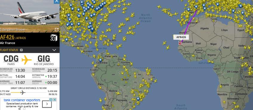 A380 em direção ao Rio   Imagem: FlightRadar 24