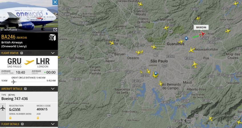 Imagens: Flightradar 24