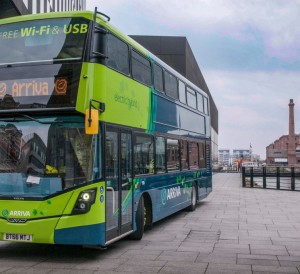New Arriva Hybrid double decker buses announcement at Mann Island.